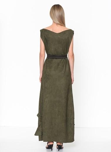 Tantrona Uzun Süet Elbise Yeşil